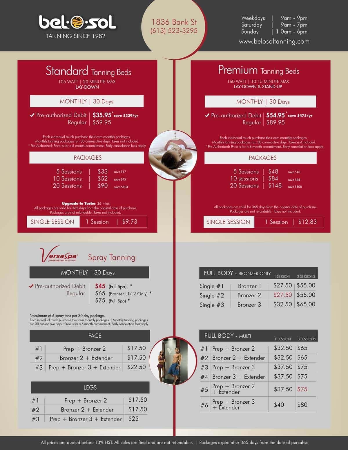 Price List Sept 2016 Sessions